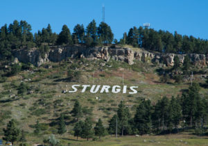 Sturgis sign on Sly Hill north of downtown Sturgis, South Dakota